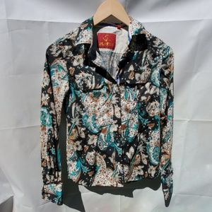Platini Paisley pearl snap button up